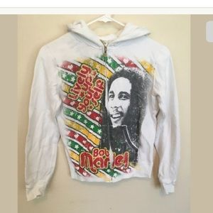 "BOB MARLEY face ""Lively Up Yourself"" Hoodie XS (c)"